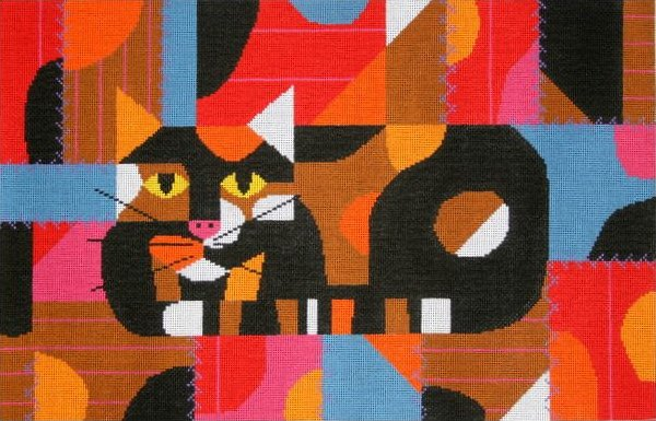 Charley Harper Needlepoint Crazy Cat