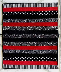 Adult Cuddle Strip Quilt Kit Black/ Red 60