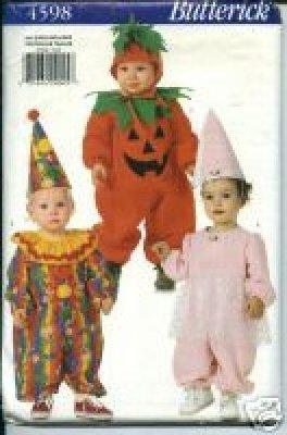 COSTUME PATTERN HALLOWEEN PUMPKIN CLOWN PRINCESS Butterick 4598 CLASSIC Infants'  ALL SIZES