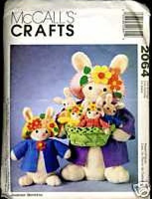 CRAFT PATTERN EASTER Home Decor and Dolls McCall's 2064 Easter Bunnies with clothes