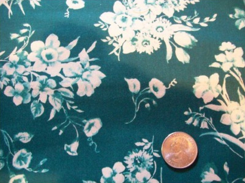 REPRODUCTION PRINT Floral on Navy background No Maker Fabric Cotton