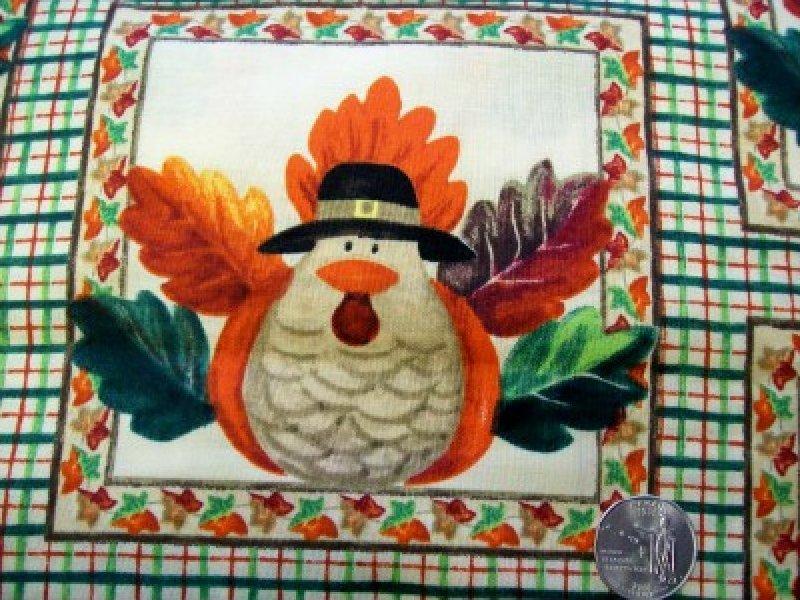 Fabric Cotton LAURIE KORSGADEN SPRINGS CREATIVE GOBBLE GOBBLE SQUARES CP32957
