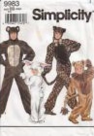 COSTUME PATTERN ADULT ANIMALS CAT BEAR RABBIT SIMPLICITY 9983 SIZES SMALL TO LARGE