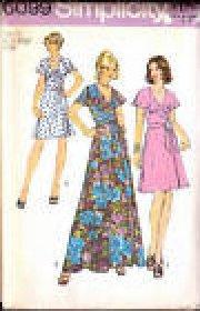 MISSES FRONT WRAP DRESS PATTERN SIMPLICITY 6099 2 LENGTH SIZE 10