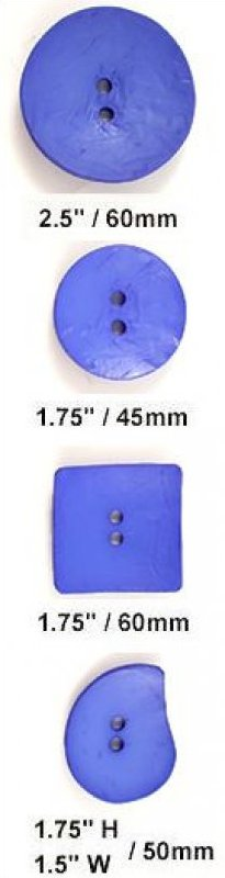 Buttons Dill Buttons 410143 Square 60mm (1.75 inch) large square nesting polyamid buttons color royal blue