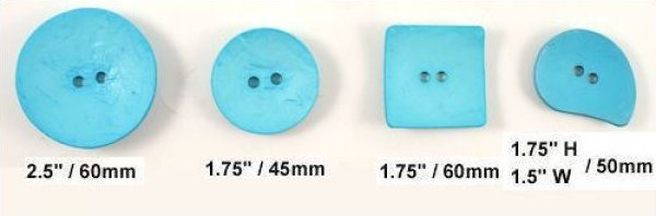 Buttons Dill Buttons 410181 fashion button - Size: 60mm  2 1/4'' - Color: Dark Turquoise - Art.-Nr.: 410181