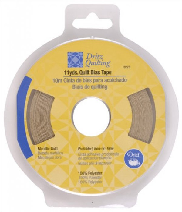 Quilt Bias Tape by Dritz Quilting 1/4 inch gold metallic fusible