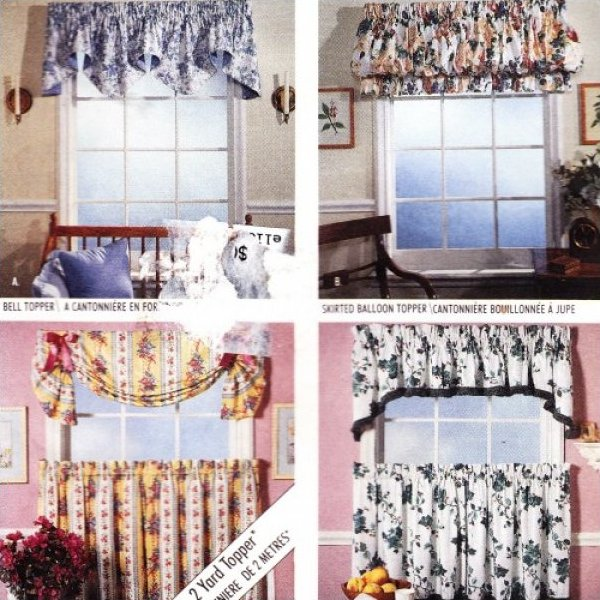 CafeCurtain Pattern Valance Swag Balloon Topper McCalls 40 Uncut New Valance Patterns