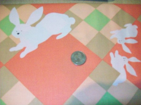 Fabric Cotton MAGIC RABBITS ON PLAID BACKGROUND BY RUTH MCDOWELL #3213