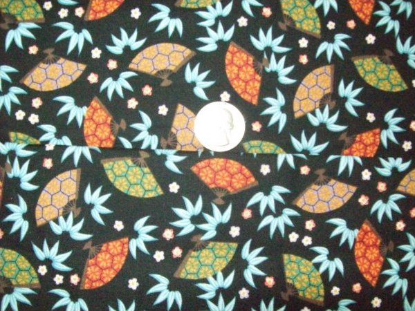 Oriental Fans on Black Background 100% cotton fabric 44/45 inch wide