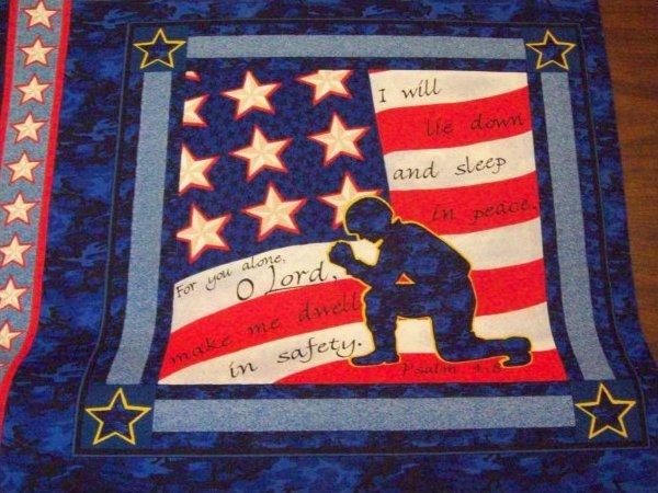 Fabric Cotton Panel Soldiers Prayer Pillow Panel 4 per yard 100% Cotton