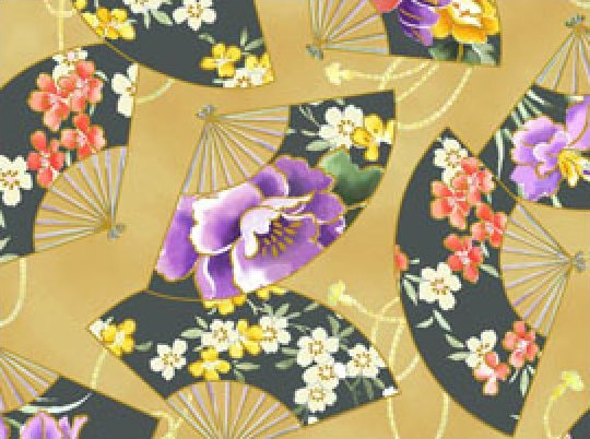 Empress Brown Asian Fans Fabric 100% cotton 44/45 inch wide