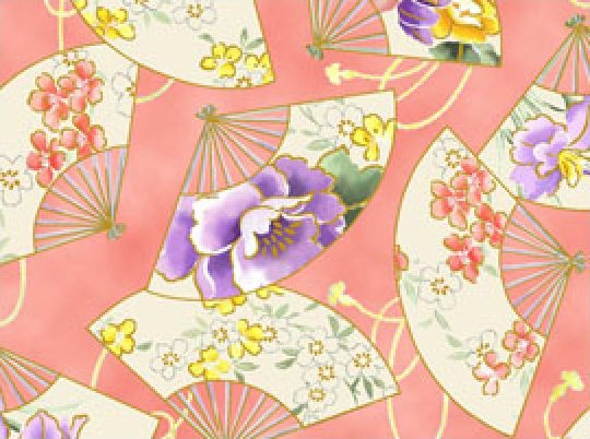 Empress Coral Asian Fans Fabric 100% Cotton 44/45 inch wide goods
