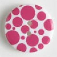 Dill Buttons Pink Dots fashion button - Size: 34mm - Color: pink - Art.-Nr.: 370462