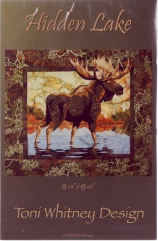 Hidden Lake With Moose Applique Pattern 13 1/2 x 15 1/2 by Toni Whitney - HL002TW