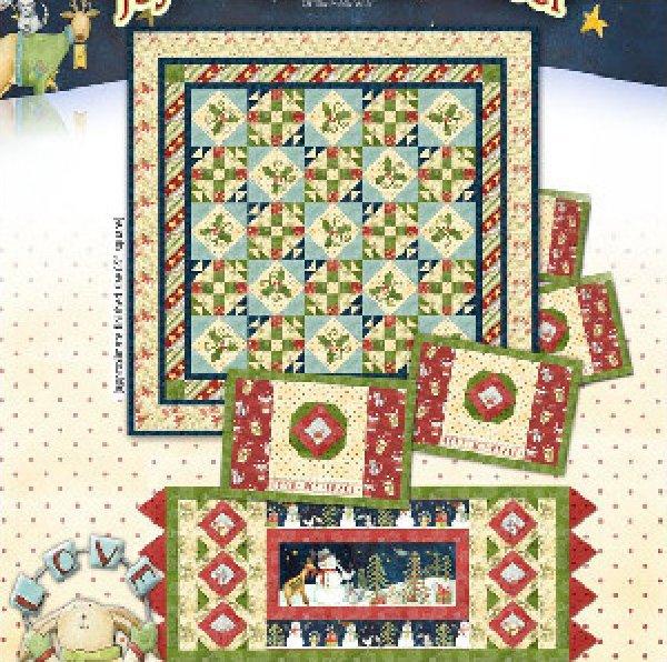 Stars & Holly Runner & Placemats - joy,love,peace, noel line of Henry Glass Fabrics - K10566