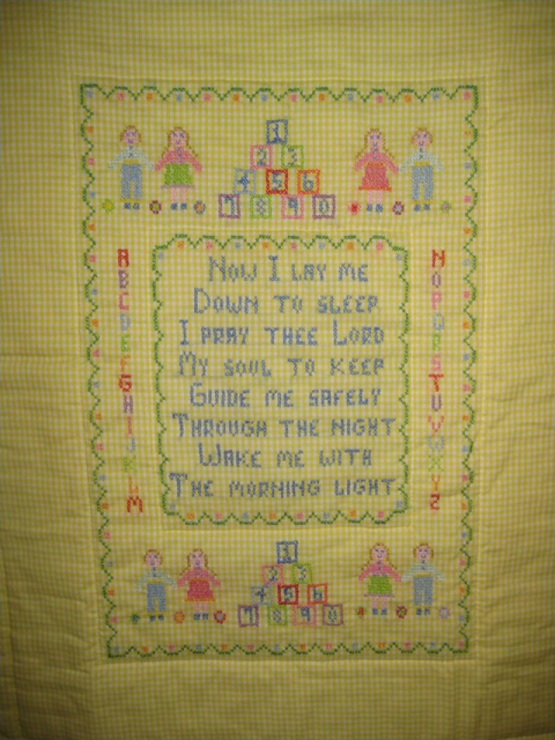 Now I Lay Me Down to Sleep - Hand Embroidered, Hand Quilted  SOLD!