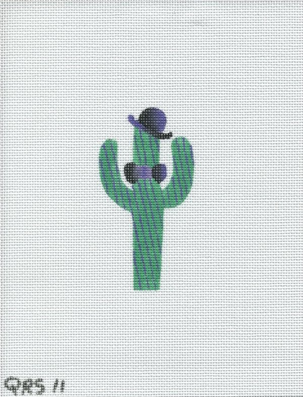 Green Cactus with stripes and top hat-QRS 11