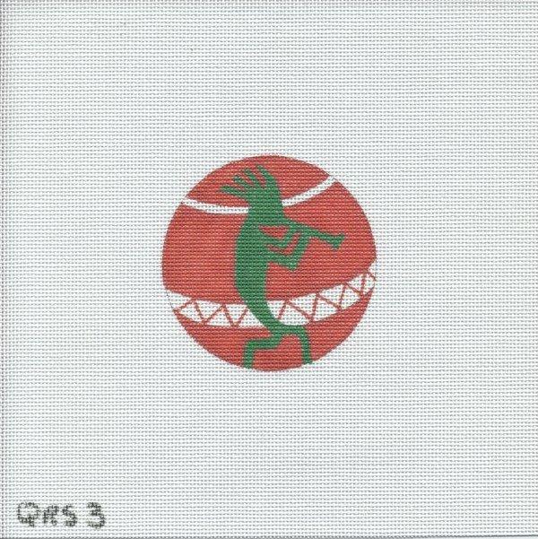 Green Kokopelli Ornament- QRS 3
