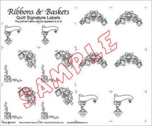 Block Party Studio - Label Panel - Quilt Signature Labels - Ribbons & Baskets - White or Natural