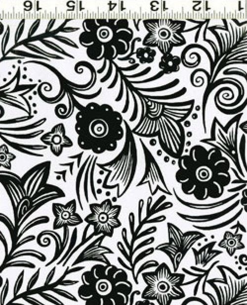 Midwinter Garden Black on White Floral
