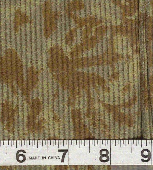 8 Wale Cotton Corduroy - Antique Paisley Print Olive/Brown
