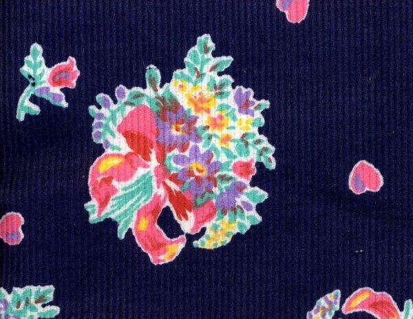 Finewale Corduroy Floral on Blue
