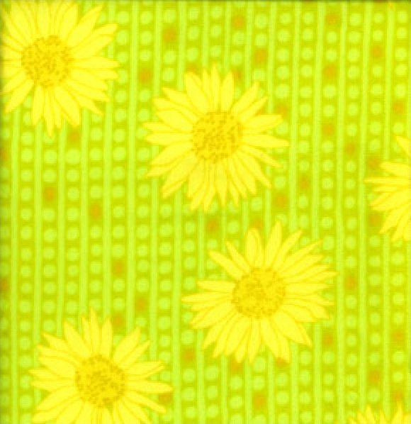 Valorie Wells Sole Flannel Bright Yellow Flowers on Bright Green
