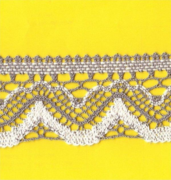 Cotton Crochet Lace 2-1/4 Cream & Taupe