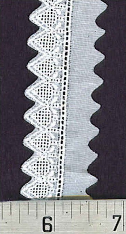 Cotton Lace Pointed Edge - White
