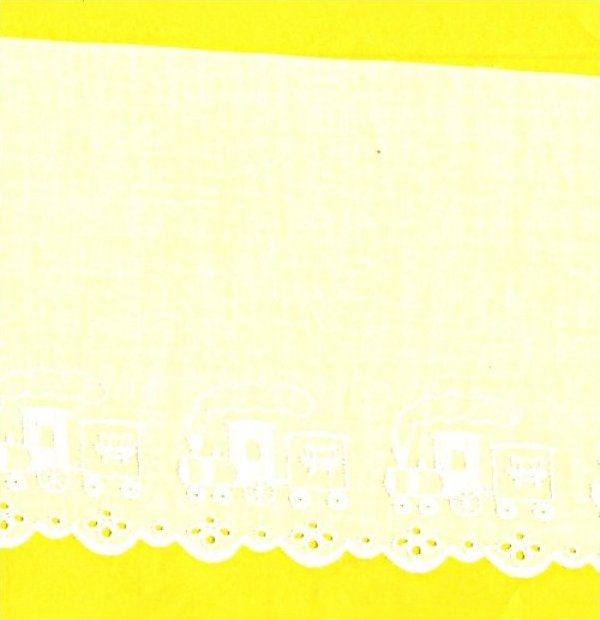 Swiss Cotton Embroidered Edging Lace - Trains 5-1/4