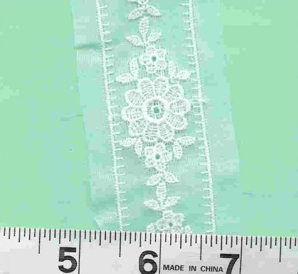 Swiss Embroidered White Organdy Insertion Lace