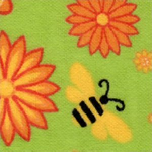Aunt Polly's Flannel Bees & Flowers on Lime