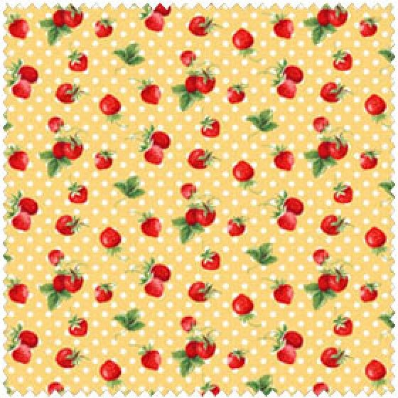 Annie Strawberries and Dots on Yellow