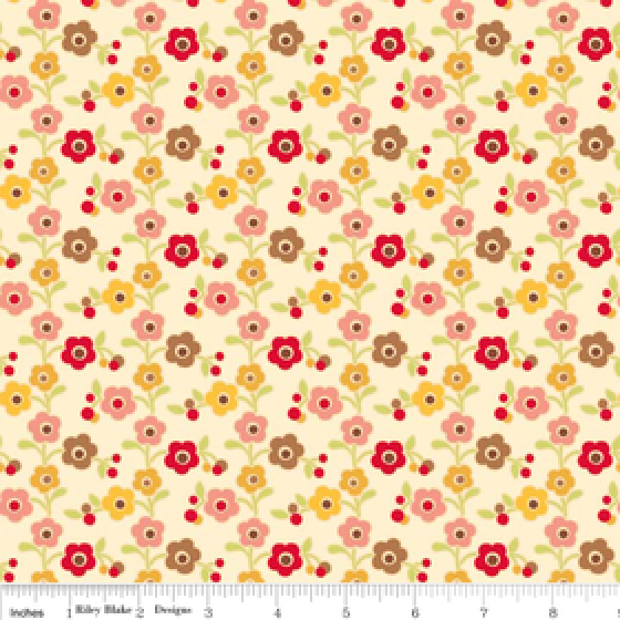 Farm Fresh Flannel Small Flowers on Cream