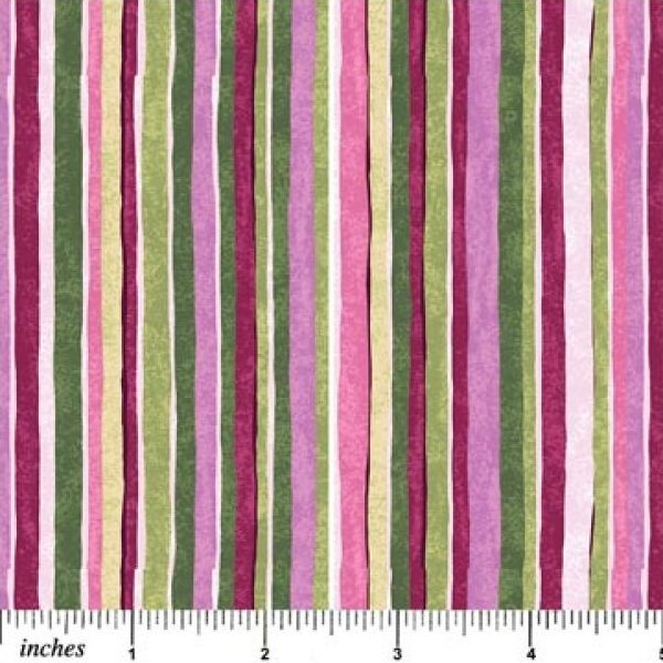 Beautiful Blossoms Stripe - Purple, Green, Magenta, Purple