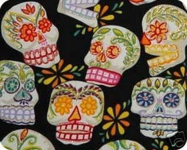 Day of the Dead Fabric Calaveras Sugar Skulls Large Scale - Black