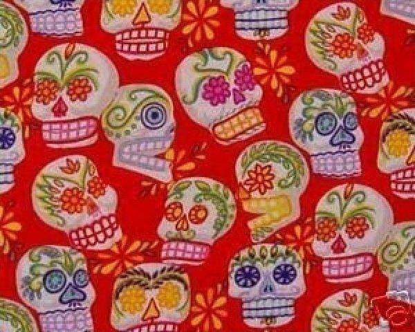 Day of the Dead Fabric Mini Calaveras Sugar Skulls - Red