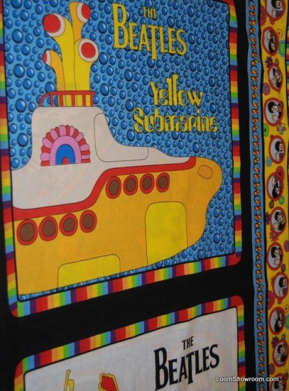 163 Beatles Yellow Submarine Pillow Panels 4 image panel cotton fabric quilt fabric