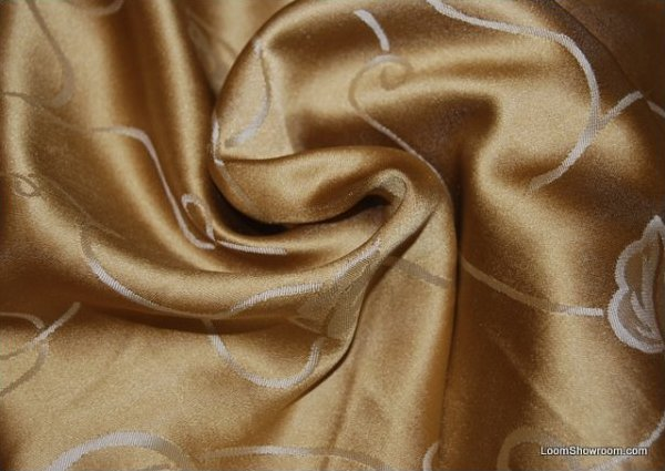 Exquisite Liquid Gold Jacquard Silk Fabric Trailing Vine Floral Damask Reversible Drapery Fabric NL235 803