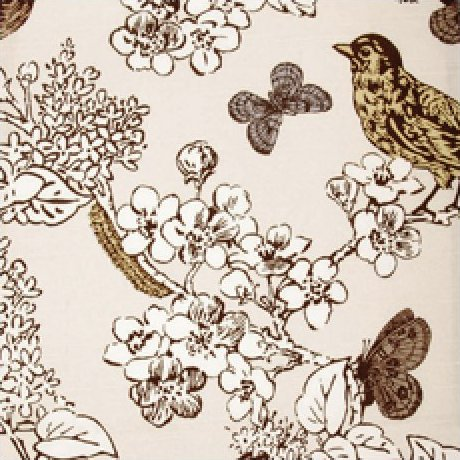 Thomas Paul Illustrated Nature Bird Floral Tree Branch Graphic Illustration Heavy Cotton Linen Fabric Multi Grey Brown Lemon on Ivory Background DSO202 NR