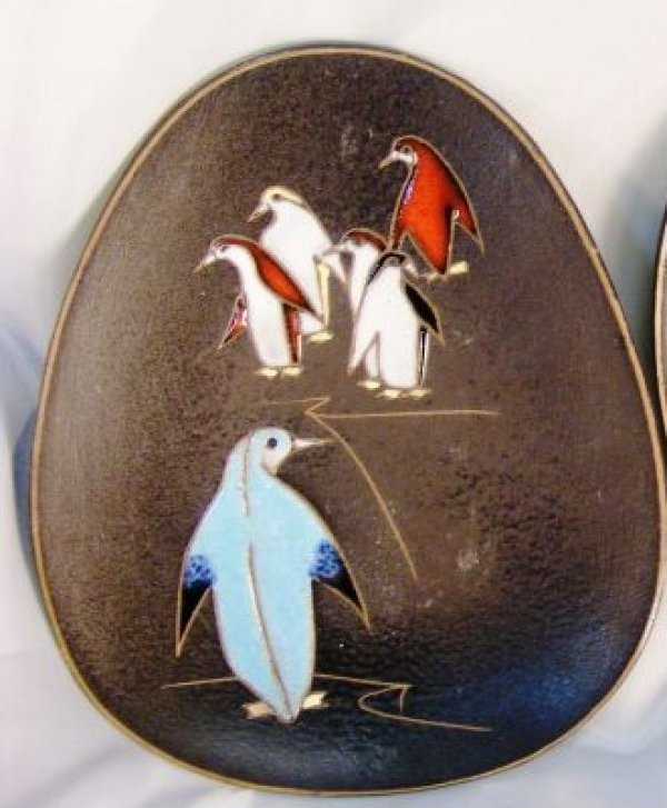 Mid Century Modern Penguin Ceramic Plate Tray West Germany Signed