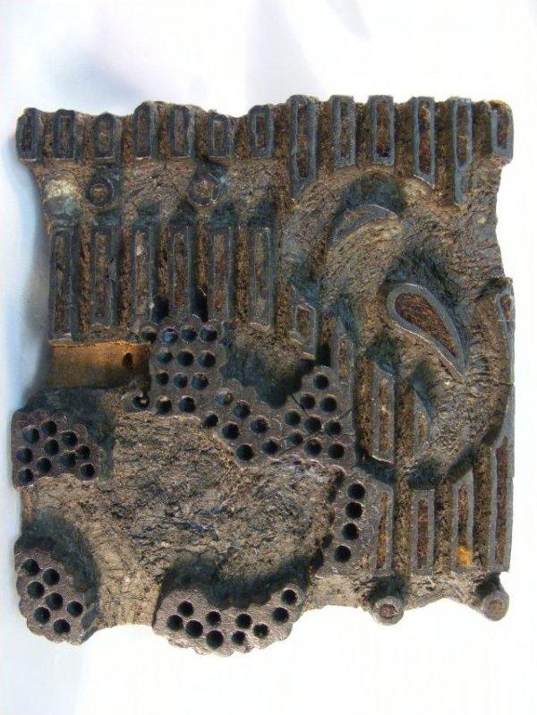Unusual Batik Ink Block India Antique Printing Block Used to Create beautiful fabrics and textiles