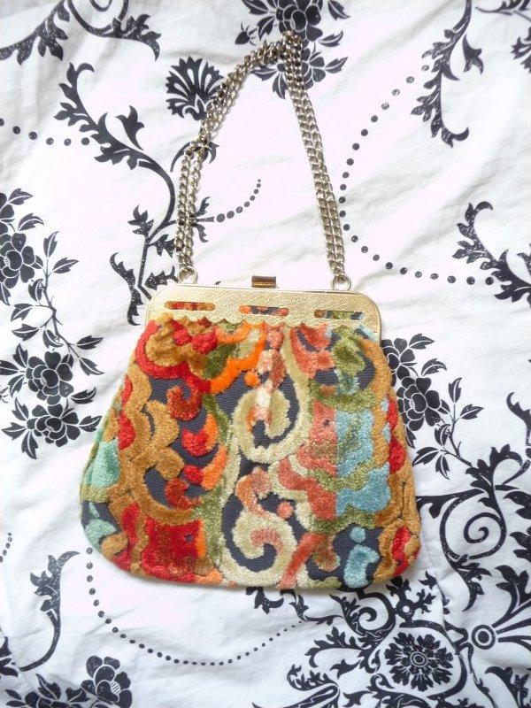 Vintage Tapestry Brightly Colored Handbag/ Evening Bag