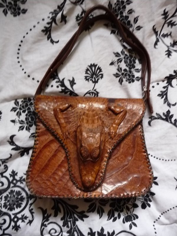 Vintage Leather Baby Alligator Purse Brown Retro Cuba