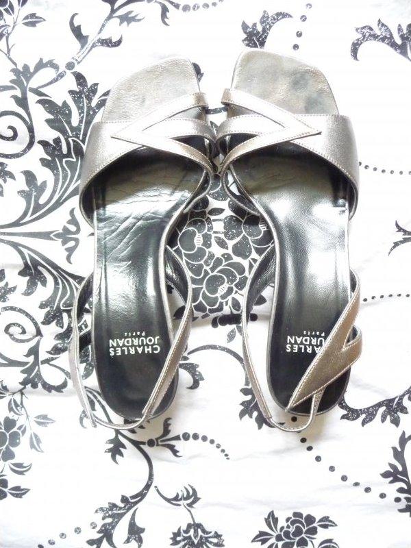 Vintage Charles Jourdan Paris Pewter Leather Sling pumps