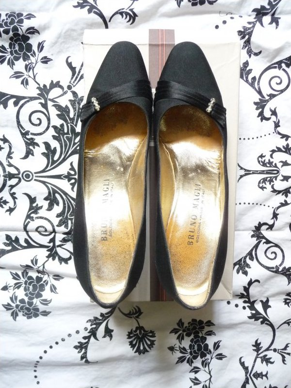 Vintage Bruno Magli Black Satin Evening Heels Box included Made In Italy
