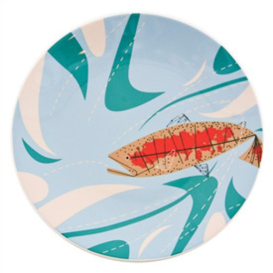Charley Harper Trout and Waves Ceramic Fish Plate Mid Century Modern Design Todd Oldham  sc 1 st  Loom Exquisite Textiles & Charley Harper Trout and Waves Ceramic Fish Plate Mid Century Modern ...