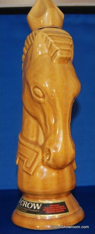 Vintage Ceramic Horsehead Chess Knight Old Crow Whiskey Liqour Decanter with Stopper