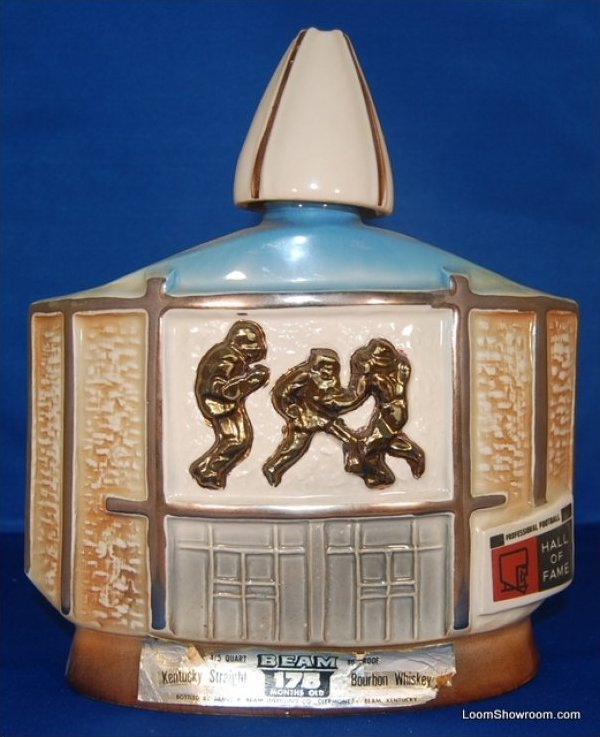 Vintage Ceramic Pro Football Hall of Fame Liquor Decanter Jim Beam Whiskey Bourbon Label